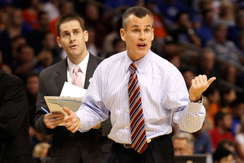 TAMPA, FL - MARCH 19:  Head coach Billy Donovan of the Florida Gators reacts against the UCLA Bruins during the third round of the 2011 NCAA men's basketball tournament at St. Pete Times Forum on March 19, 2011 in Tampa, Florida.  (Photo by J. Meric/Getty