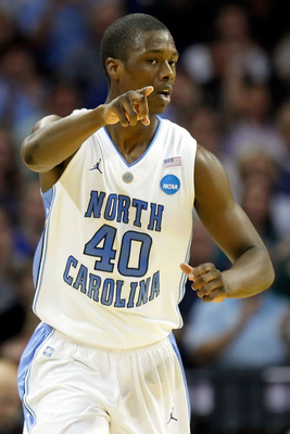 CHARLOTTE, NC - MARCH 20:  Harrison Barnes #40 of the North Carolina Tar Heels reacts in the first half while taking on the Washington Huskies during the third round of the 2011 NCAA men's basketball tournament at Time Warner Cable Arena on March 20, 2011