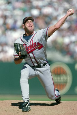20 Aug 2000:  Pitcher John Rocker #49 of the Atlanta Braves throws the ball during the game against the San Francisco Giants at Pac Bell Park in SanFrancisco, California. The Braves defeated the Giants 8-5.Mandatory Credit: Tom Hauck  /Allsport