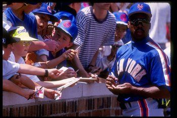 Vince Coleman of the New York Mets looks on during a game at Shea Stadium in Flushing, New York.