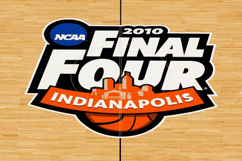 INDIANAPOLIS - APRIL 02:  A general view of the logo at center court of Lucas Oil Stadium prior to the 2010 Final Four of the NCAA Division I Men's Basketball Tournament on April 2, 2010 in Indianapolis, Indiana.  (Photo by Andy Lyons/Getty Images)