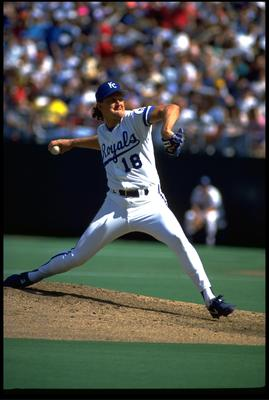 1990:  KANSAS CITY ROYALS PITCHER BRET SABERHAGEN STEPS TO THROW DURING A ROYALS GAME AT ROYALS STADIUM IN KANSAS CITY, MISSOURI.