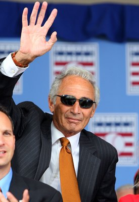 COOPERSTOWN, NY - JULY 26:  Hall of Famer Sandy Koufax waves to the crowd as he is introduced at Clark Sports Center during the 2009  Baseball Hall of Fame induction ceremony on July 26, 2009 in Cooperstown, New York.  (Photo by Jim McIsaac/Getty Images)