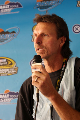 AVONDALE, AZ - NOVEMBER 13:  Former MLB pitcher Randy Johnson speaks at a press conference during practice for the NASCAR Sprint Cup Series Kobalt Tools 500 at Phoenix International Raceway on November 13, 2010 in Avondale, Arizona.  (Photo by Christian P