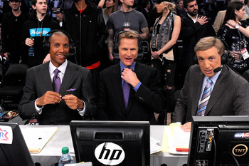LOS ANGELES, CA - FEBRUARY 20:  Reggie Miller, Steve Kerr and Marv Albert of TNT in the 2011 NBA All-Star Game at Staples Center on February 20, 2011 in Los Angeles, California. NOTE TO USER: User expressly acknowledges and agrees that, by downloading and