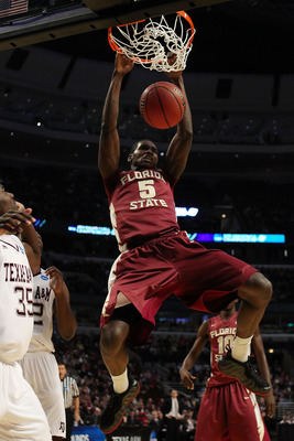 CHICAGO, IL - MARCH 18: Bernard James #5 of the Florida State Seminoles dunks against the Texas A&amp;M Aggies in the second half during the second round of the 2011 NCAA men's basketball tournament at the United Center on March 18, 2011 in Chicago, Illinois.