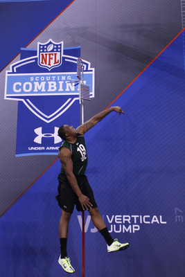 INDIANAPOLIS, IN - FEBRUARY 28:  Defensive lineman Nick Fairley of Auburn takes part in the vertical jump during the 2011 NFL Scouting Combine at Lucas Oil Stadium on February 28, 2011 in Indianapolis, Indiana. (Photo by Joe Robbins/Getty Images)