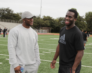 LOS ANGELES, CA - MARCH 19:  adidas, Reggie Bush and Prince Amukamara pop into a football practice in Los Angeles to capture game faces as part of the adidas Facebook Game Face contest.  (Photo by Noel Vasquez/Getty Images for adidas)