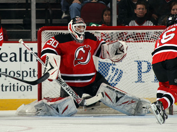 NEWARK, NJ - MARCH 15:  Martin Brodeur #30 of the New Jersey Devils tends net against the Atlanta Thrashers at the Prudential Center on March 15, 2011 in Newark, New Jersey. The Devils defeated the Thrashers 4-2.  (Photo by Bruce Bennett/Getty Images)