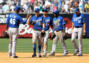 NEW YORK - JULY 24: The Kansas City Royals celebrate the win against the New York Yankees at Yankee Stadium on July 24, 2010 in the Bronx borough of New York City.  (Photo by Nick Laham/Getty Images)