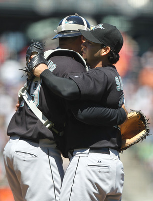 SAN FRANCISCO - JULY 29:  Anibal Sanchez #19 of the Florida Marlins celebrates with his catcher Ronny Paulino #29 after throwing a one-hitter against the San Francisco Giants during an MLB game at AT&amp;T Park on July 29, 2010 in San Francisco, California.