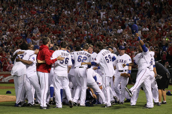 ARLINGTON, TX - OCTOBER 22:  The Texas Rangers celebrate on the field after defeating the New York Yankees 6-1 in Game Six of the ALCS to advance to the World Series during the 2010 MLB Playoffs at Rangers Ballpark in Arlington on October 22, 2010 in Arli