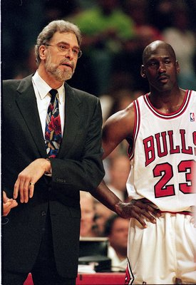 13 Apr 1998:  Michael Jordan #23 of the Chicago Bulls listen to Head Coach Phil Jackson during a game against the Indian Pacers at the United Center in Chicago, Illinois.   Mandatory Credit: Jonathan Daniel  /Allsport
