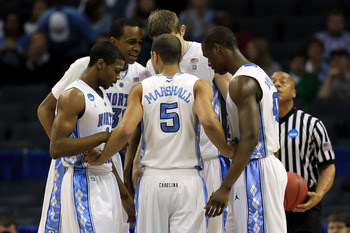 CHARLOTTE, NC - MARCH 18:  The North Carolina Tar Heels huddle while taking on the Long Island Blackbirds during the second round of the 2011 NCAA men's basketball tournament at Time Warner Cable Arena on March 18, 2011 in Charlotte, North Carolina.  (Pho
