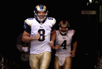 GLENDALE, AZ - DECEMBER 05:  Quarterback Sam Bradford #8 of the St. Louis Rams runs out onto the field before the NFL game against the Arizona Cardinals at the University of Phoenix Stadium on December 5, 2010 in Glendale, Arizona. The Rams defeated the C