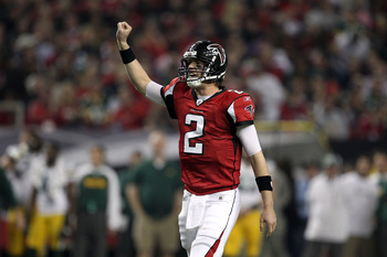 ATLANTA, GA - JANUARY 15:  Quarterback Matt Ryan #2 of the Atlanta Falcons gestures against the Green Bay Packers during their 2011 NFC divisional playoff game at Georgia Dome on January 15, 2011 in Atlanta, Georgia.  (Photo by Streeter Lecka/Getty Images