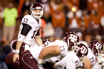 AUSTIN, TX - NOVEMBER 25:  Quarterback Ryan Tannehill #17 of Texas A&amp;M during the game against University of Texas in the first half at Darrell K. Royal-Texas Memorial Stadium on November 25, 2010 in Austin, Texas. (Photo by Darren Carroll/Getty Images)