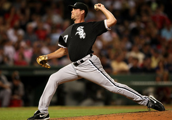 BOSTON - AUGUST 26:  Matt Thornton #37 of the Chicago White Sox delivers a pitch in the seventh inning against the Boston Red Sox on August 26, 2009 at Fenway Park in Boston, Massachusetts.  (Photo by Elsa/Getty Images)
