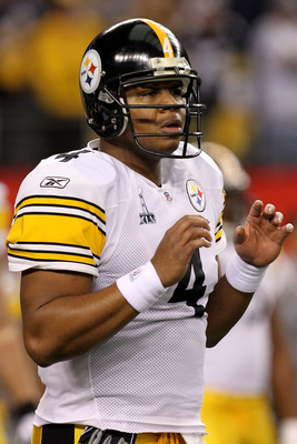 ARLINGTON, TX - FEBRUARY 06:  Byron Leftwich #4 of the Pittsburgh Steelers warms up prior to their game against the Green Bay Packers during Super Bowl XLV at Cowboys Stadium on February 6, 2011 in Arlington, Texas.  (Photo by Ronald Martinez/Getty Images