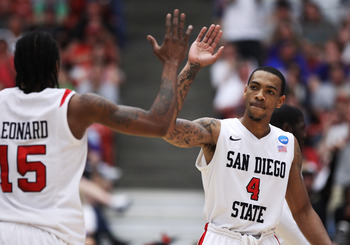 TUCSON, AZ - MARCH 19:  Kawhi Leonard #15 and Malcolm Thomas #4 of the San Diego State Aztecs celebrate during their game against the Temple Owls in the third round of the 2011 NCAA men's basketball tournament at McKale Center on March 19, 2011 in Tucson,