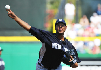 CLEARWATER, FL - FEBRUARY 27:  Pitcher Ivan Nova #47 of the New York Yankees starts against the Philadelphia Phillies February 27, 2011 at Bright House Field in Clearwater, Florida.  (Photo by Al Messerschmidt/Getty Images)