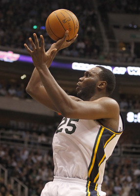 SALT LAKE CITY, UT - DECEMBER 8:  Al Jefferson #25 of the Utah Jazz shoots the ball during a game against the Miami Heat during the second half of an NBA game December 8, 2010 at Energy Solutions Arena in Salt Lake City, Utah. The Heat beat the Jazz 111-9