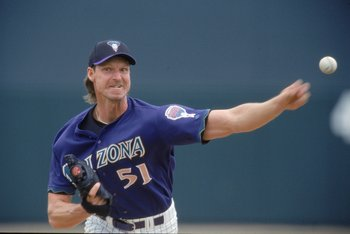 5 Mar 2001:  Randy Johnson #51 of the Arizona Diamondbacks pitches the ball during the Spring Training Game against the Milaukee Brewers at the Tucson Electric Park in Tucson, Arizona. The Brewers defeated the Diamondbacks 10-6.Mandatory Credit: Brian Bah