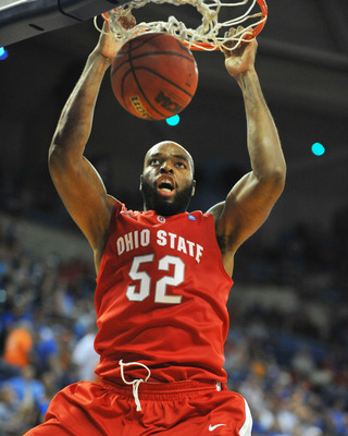 GAINESVILLE, FL - NOVEMBER 16: Forward Dallas Lauderdale #52  of the Ohio State Buckeyes scores against the Florida Gators November 16, 2010 at the Stephen C. O'Connell Center in Gainesville, Florida.  (Photo by Al Messerschmidt/Getty Images)