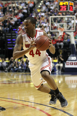 INDIANAPOLIS, IN - MARCH 12:  William Buford #44 of the Ohio State Buckeyes drives against the Michigan Wolverines during the semifinals of the 2011 Big Ten Men's Basketball Tournament at Conseco Fieldhouse on March 12, 2011 in Indianapolis, Indiana. Ohio
