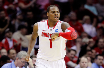 CLEVELAND, OH - MARCH 18: Deshaun Thomas #1 of the Ohio State Buckeyes celebrates after a play in the second half against the Texas-San Antonio Roadrunners during the second round of the 2011 NCAA men's basketball tournament at Quicken Loans Arena on Marc