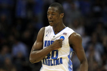 CHARLOTTE, NC - MARCH 20:  Harrison Barnes #40 of the North Carolina Tar Heels reacts in the second half while taking on the Washington Huskies during the third round of the 2011 NCAA men's basketball tournament at Time Warner Cable Arena on March 20, 201