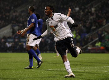 BOLTON, ENGLAND - FEBRUARY 13:  Daniel Sturridge of Bolton Wanderers celebrates scoring his team's second goal during the Barclays Premier League match between Bolton Wanderers and Everton at the Reebok Stadium on February 13, 2011 in Bolton, England.  (P