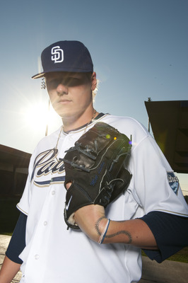 PEORIA, AZ - FEBRUARY 23: Mat Latos #38 of the San Diego Padres poses during their photo day at the Padres Spring Training Complex on February 23, 2011 in Peoria, Arizona. (Photo by Rob Tringali/Getty Images)