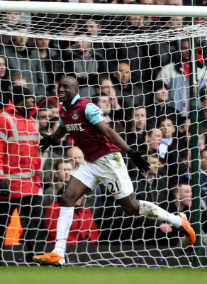 LONDON, ENGLAND - FEBRUARY 27:  Demba Ba of West Ham celebrates scoring the second goal during the Barclays Premier League match between West Ham United and Liverpool at the Boleyn Ground on February 27, 2011 in London, England.  (Photo by Scott Heavey/Ge