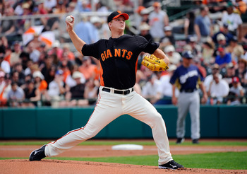 SCOTTSDALE, AZ - MARCH 14:  Matt Cain #18 of the San Francisco Giants throws a pitch against the Milwaukee Brewers during a spring training game at Scottsdale Stadium on March 14, 2011 in Scottsdale, Arizona.  (Photo by Kevork Djansezian/Getty Images)