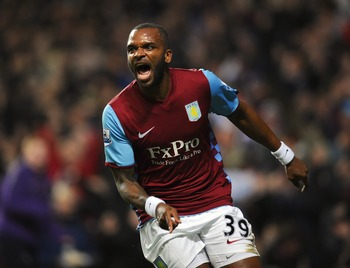 BIRMINGHAM, ENGLAND - JANUARY 22:  Darren Bent of Aston Villa celebrates after scoring the opening goal on his debut during the Barclays Premier League match between Aston Villa and Manchester City at Villa Park on January 22, 2011 in Birmingham, England.