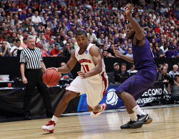 TUCSON, AZ - MARCH 19:  Jordan Taylor #11 of the Wisconsin Badgers drives against Jacob Pullen #0 of the Kansas State Wildcats during the third round of the 2011 NCAA men's basketball tournament at McKale Center on March 19, 2011 in Tucson, Arizona.  (Pho