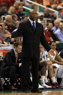 GREENSBORO, NC - MARCH 11:  Head coach Leonard Hamilton of the Florida State Seminoles reacts while playing against Virginia the Tech Hokies  during the first half in the quarterfinals of the 2011 ACC men's basketball tournament at the Greensboro Coliseum