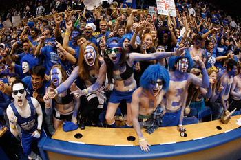 DURHAM, NC - FEBRUARY 09:  Cameron Crazies celebrate after defeating the North Carolina Tar Heels 79-73 at Cameron Indoor Stadium on February 9, 2011 in Durham, North Carolina.  (Photo by Streeter Lecka/Getty Images)