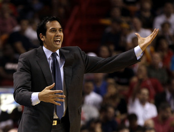 MIAMI - MARCH 12:  Coach Erik Spoelstra of the Miami Heat shouts instructions against the Memphis Grizzlies at American Airlines Arena on March 12, 2011 in Miami, Florida. NOTE TO USER: User expressly acknowledges and agrees that, by downloading and/or us