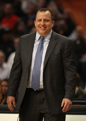 CHICAGO, IL - MARCH 12: Head coach Tom Thibodeau of the Chicago Bulls smiles as he watches his team take on the Utah Jazz at the United Center on March 12, 2011 in Chicago, Illinois. The Bulls defeated the Jazz 118-100. NOTE TO USER: User expressly acknow