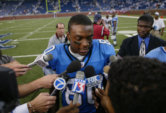 DETROIT, MI - SEPTEMBER 7:  Wide receiver Charles Rogers #80 of the Detroit Lions talks to the press after the game against the Arizona Cardinals at Ford Field on September 7, 2003 in Detroit, Michigan. The Lions defeated the Cardinals 42-24. (Photo by Da