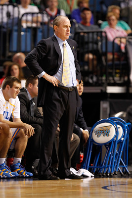 TAMPA, FL - MARCH 17:  Head coach Ben Howland of the UCLA Bruins coaches against the Michigan State Spartans during the second round of the 2011 NCAA men's basketball tournament at St. Pete Times Forum on March 17, 2011 in Tampa, Florida.  (Photo by J. Me