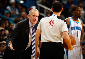 NEW ORLEANS, LA - JANUARY 03:  Head coach Doug Collins of the Philadelphia 76ers argues a call with referee matt Boland in the second half against the New Orleans Hornets at New Orleans Arena on January 3, 2011 in New Orleans, Louisiana. NOTE TO USER: Use
