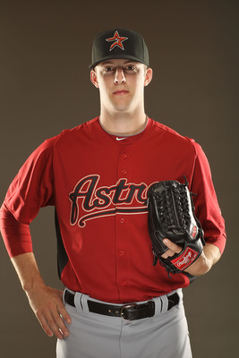 KISSIMMEE, FL - FEBRUARY 24:  Jordan Lyles #70 of the Houston Astros poses for a portrait during Spring Training photo Day at Osceola County Stadium  on February 24, 2011 in Kissimmee, Florida.  (Photo by Al Bello/Getty Images)