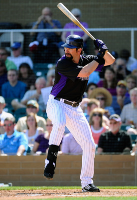 SCOTTSDALE, AZ - MARCH 14:  Todd Helton #17 of the Colorodo Rockies against the Cincinnati Reds  during the spring training baseball game at Salt River Fields at Talking Stick on March 14, 2011 in Scottsdale, Arizona.  (Photo by Kevork Djansezian/Getty Im