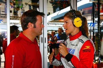 LONG POND, PA - AUGUST 05:  Robby Gordon, driver of the #7 Menards/MAPEI Ford, is interviewed by ESPN correspondent Jamie Little prior to the NASCAR Nextel Cup Series Pennsylvania 500 at Pocono Raceway on August 5, 2007 in Long Pond, Pennsylvania. Gordon