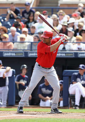 PEORIA, AZ - MARCH 15:  Bobby Abreu #53 of the Los Angeles Angels of Anaheim bats against the San Diego Padres during the spring training game at Peoria Stadium on March 15, 2011 in Peoria, Arizona.  (Photo by Christian Petersen/Getty Images)