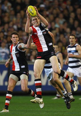 MELBOURNE, AUSTRALIA - SEPTEMBER 03:  Ben McEvoy of the Saints marks during the AFL Second Qualifying Final match between the Geelong Cats and the St Kilda Saints at Melbourne Cricket Ground on September 3, 2010 in Melbourne, Australia.  (Photo by Quinn R