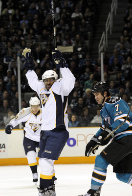 SAN JOSE, CA - MARCH 8: Joel Ward #29 of the Nashville Predators celebrates after scoring a power play goal against the San Jose Sharks in the first period of an NHL hockey game at the HP Pavilion on March 8, 2011 in San Jose, California. (Photo by Thearo